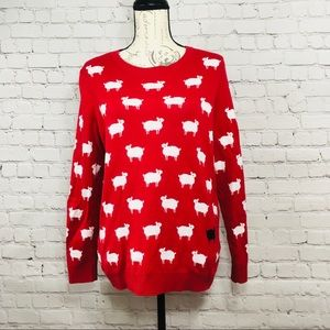 Women's Charter Club Red Sheep Sweater size Large